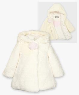 Hooded a-line pompom coat