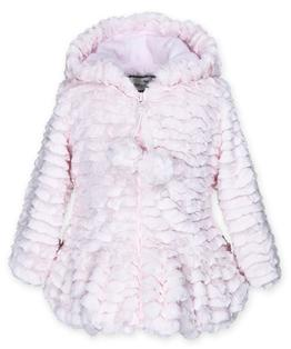 Hooded pompom coat