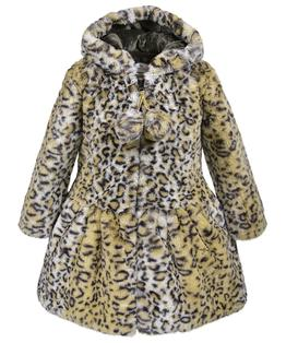 Hooded zip front pompom coat