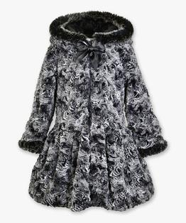 Hooded zip coat with fur trim