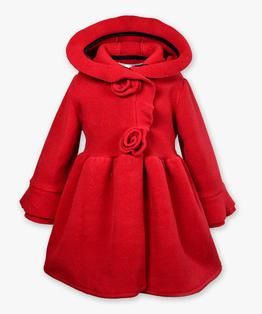 Hooded rosette fleece coat