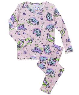 Girls Snug Fit Lettuce Edged Long John Pj
