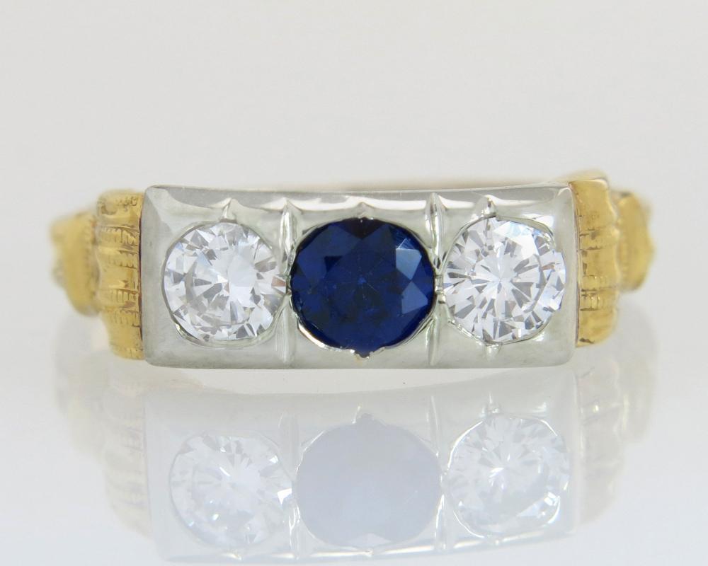 Antique 14K Gold .76ct Genuine Diamond & Sapphire Art Deco Engagement Ring 2.3g