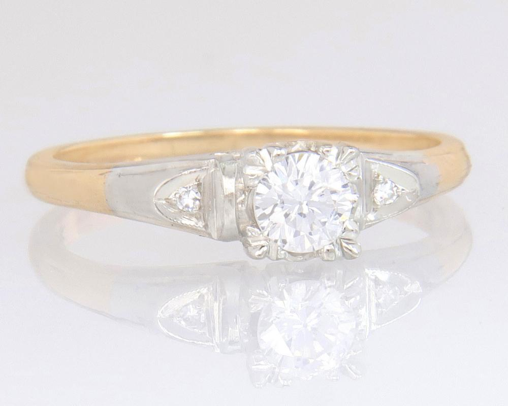 Antique Art Deco Two Tone 14K Gold .30ct Genuine Diamond Engagement Ring