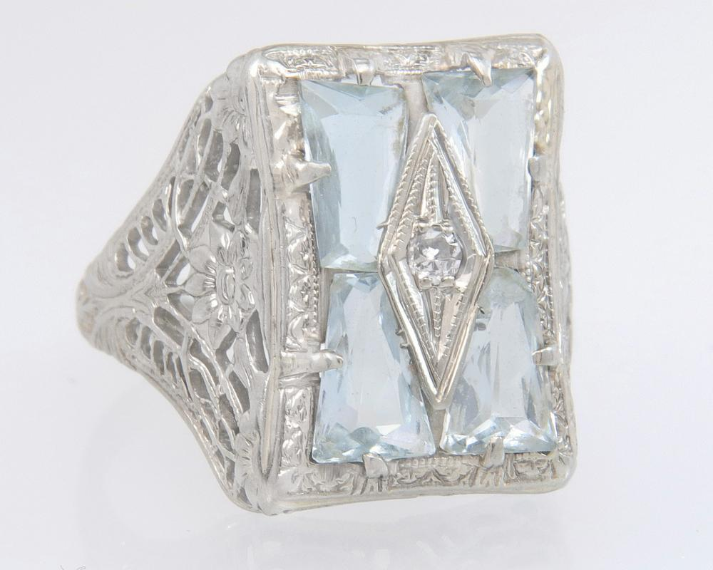 Antique 14K White Gold Flowers 2.00ct Genuine Diamond & Aquamarine Art Deco Ring