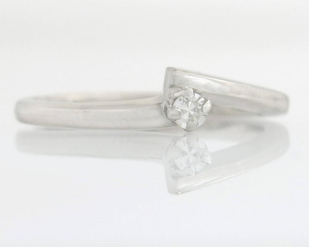 Estate Krasner 14K White Gold .04ct Genuine Diamond Engagement Ring