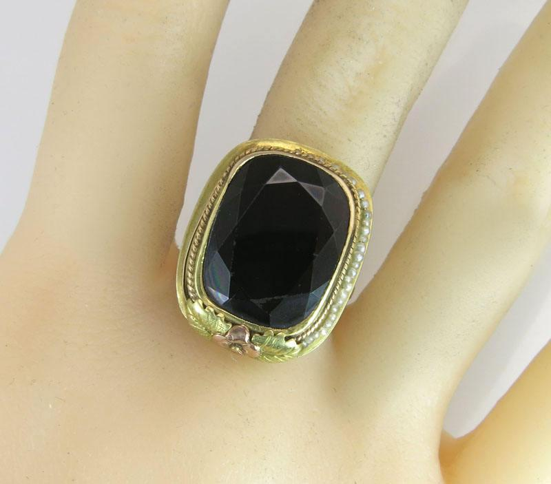 Antique 14K Two Tone Gold 13.00ct Black Onyx & Seed Pearl Art Deco Ring