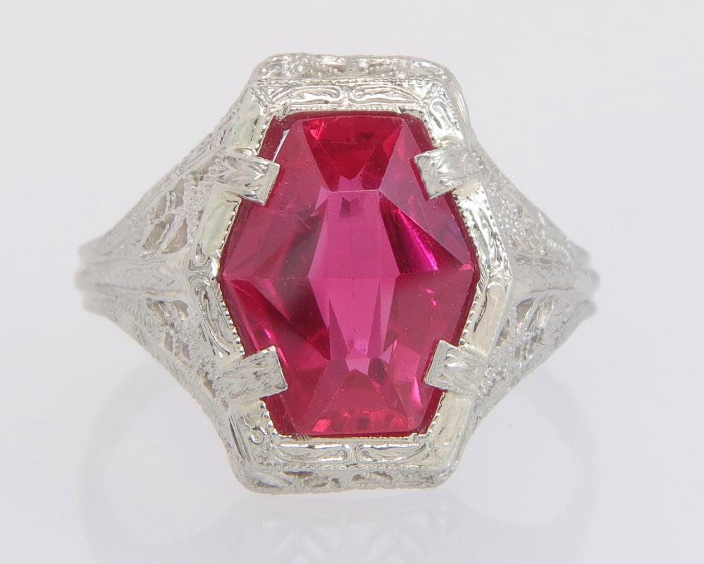 Antique Estate Art Deco Belais 2.70ct Red Spinel Filigree 14K White Gold Ring