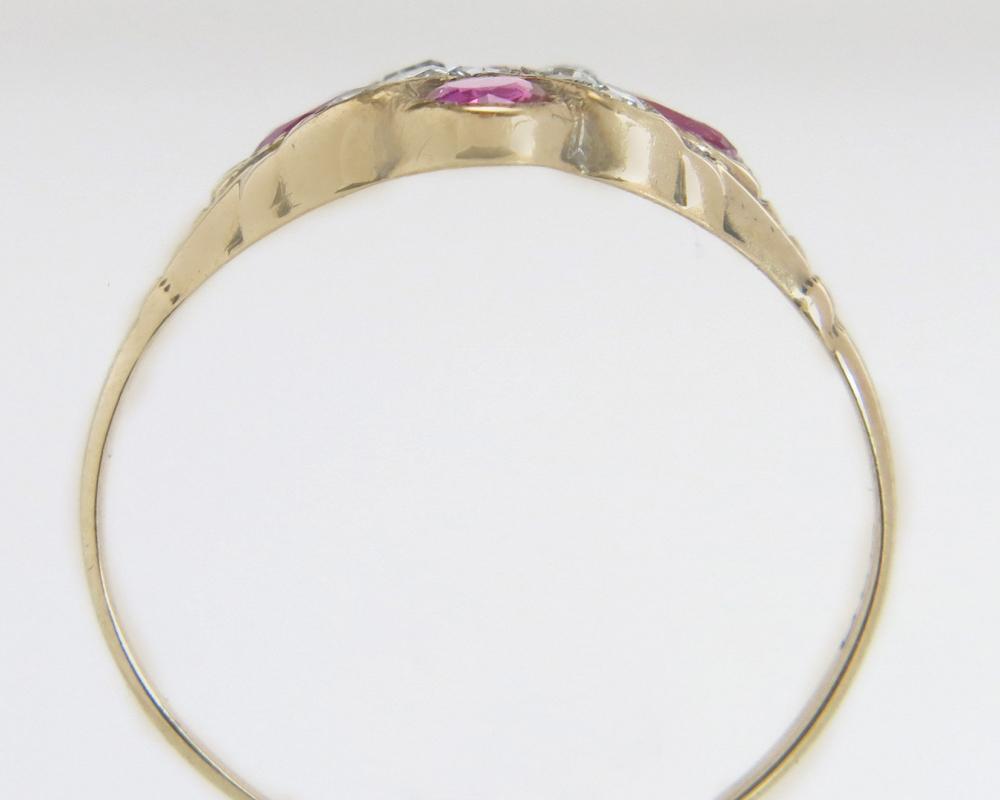 Antique Estate Designer Ostby Barton 10K Yellow Gold 1.00ct Genuine Ruby & Diamond Victorian Ring 1.5g