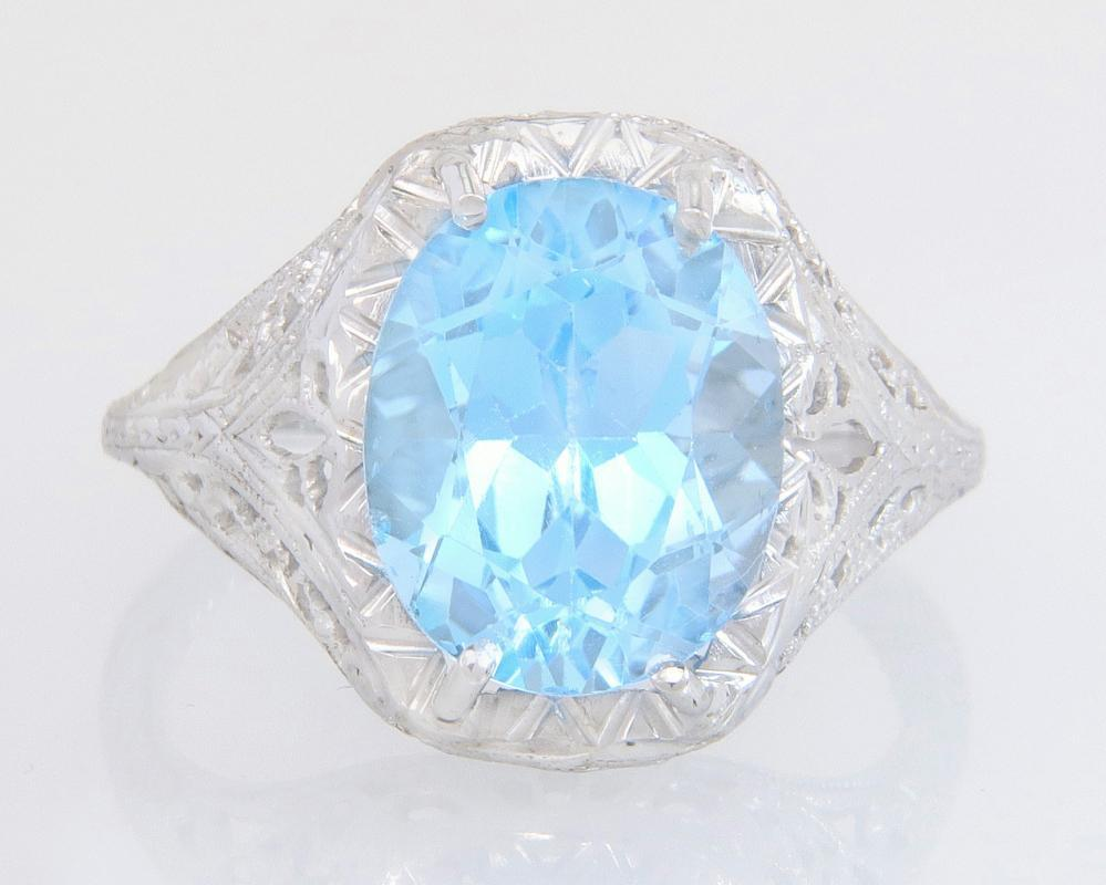 Antique Estate 14K White Gold 4.50ct Blue Topaz Filigree Art Deco Ring