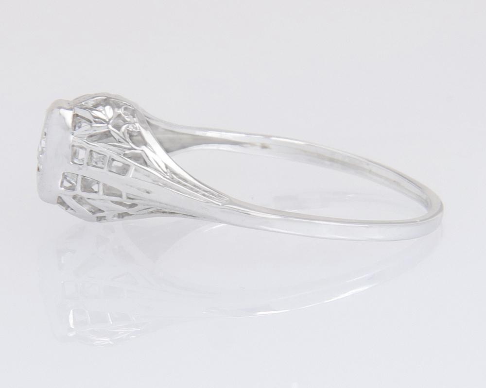 Antique Estate 14K White Gold .05ct Genuine Diamond Art Deco Engagement Ring