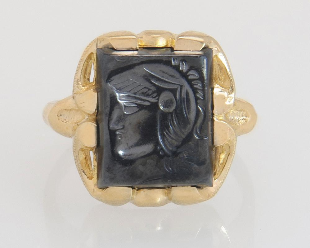 Antique Vintage Estate 10K Yellow Gold Centurion Soldier Carved Hematite Art Deco Ring 4.6g