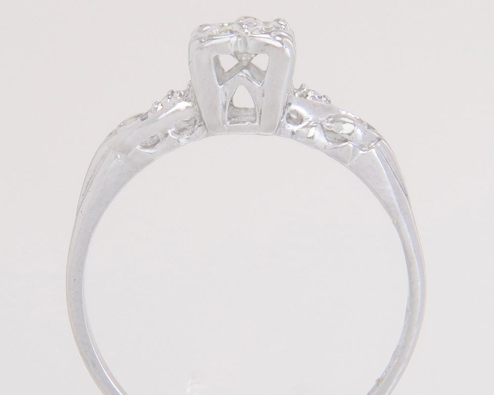 Antique Estate 14K White Gold .20ct Genuine Diamond Art Deco Engagement Ring
