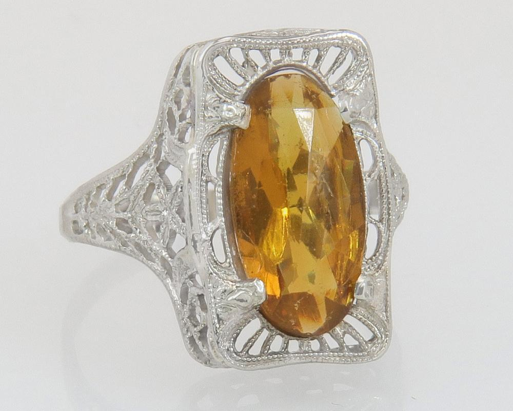 Antique Abraham & Straus 10K Gold 2.00ct Citrine Art Deco Ring