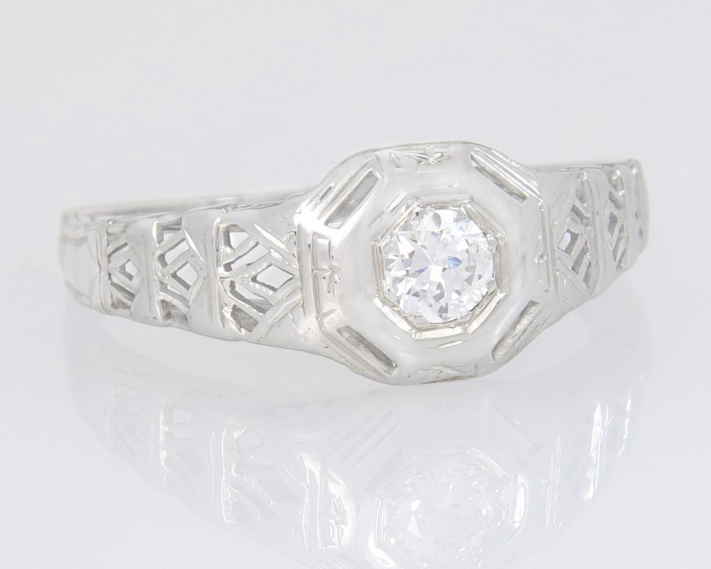 Antique Estate 18K White Gold .13ct Genuine Diamond Art Deco Engagement Ring