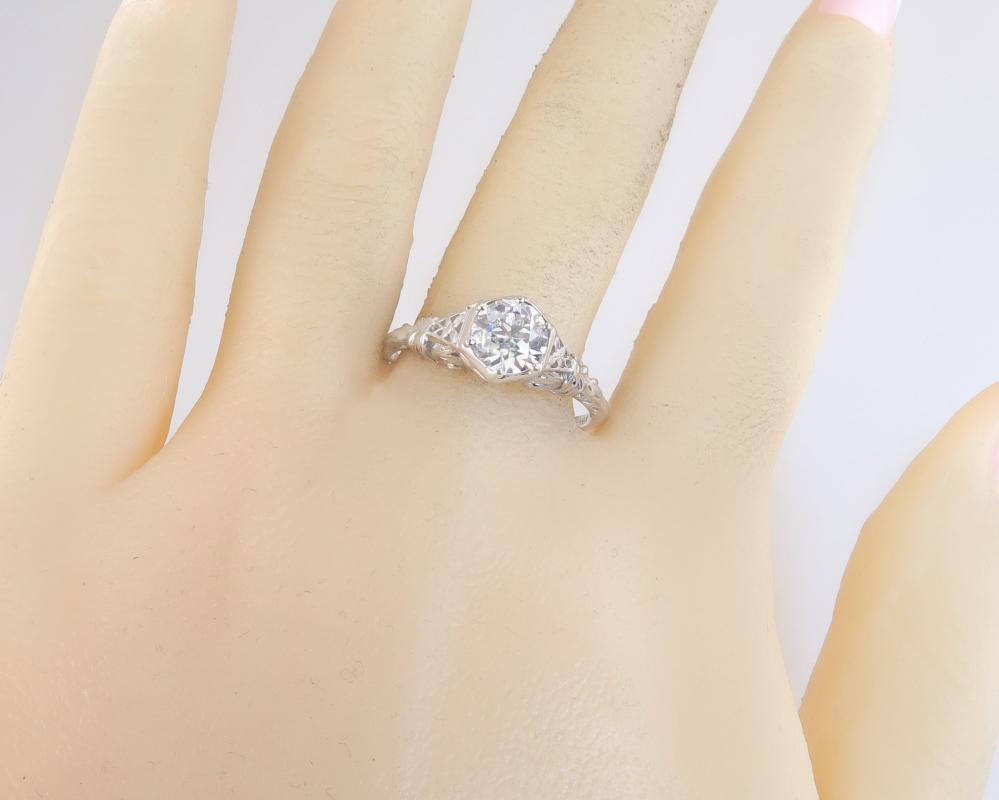 Antique EGL Certified G SI3 .97ct Old European Diamond 18K Gold Engagement Ring