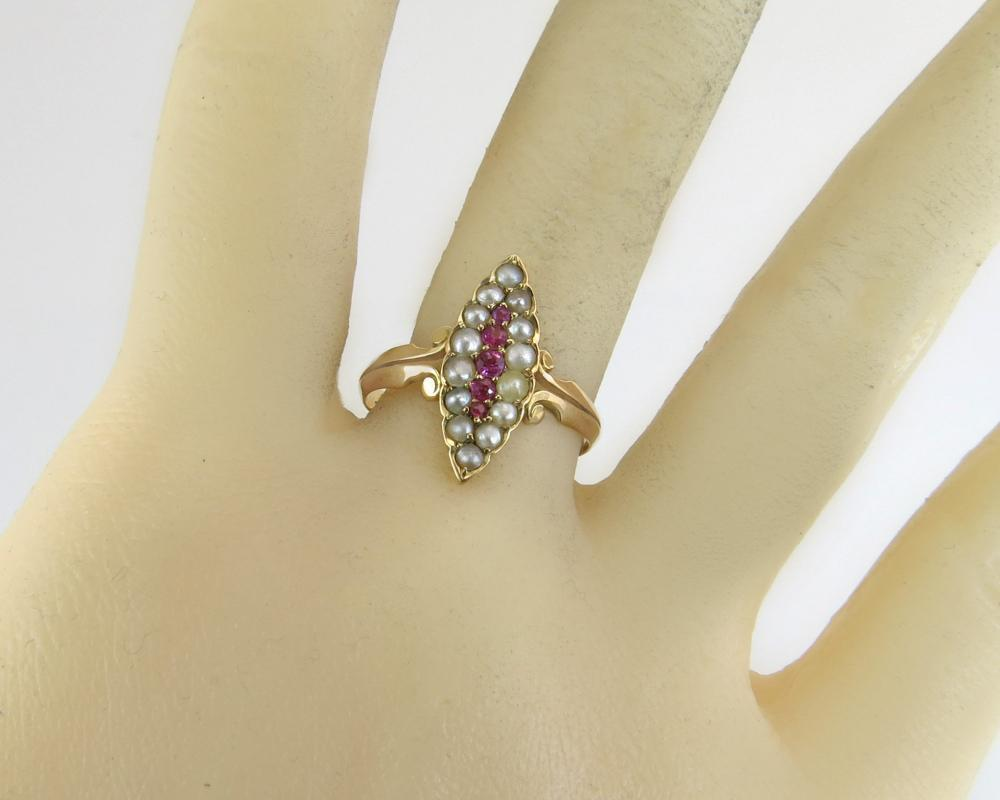 Antique Estate 14K Yellow Gold .10ct Ruby & Seed Pearl Victorian Ring 2g