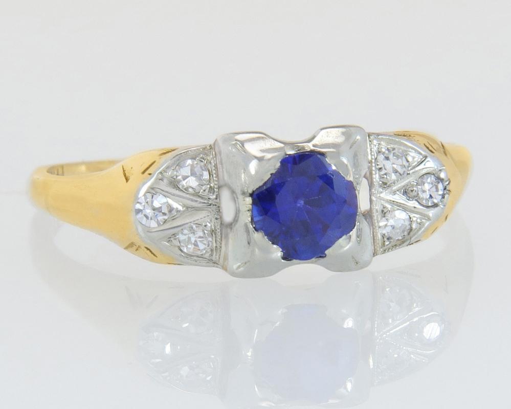 Antique Vintage Estate 14k 18K Gold .43ct Genuine Diamond & Sapphire Art Deco Ring 1.5g