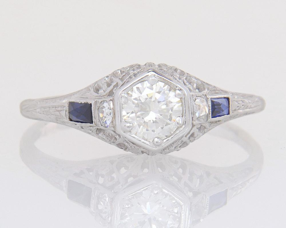 Antique 14K Gold .66ct Genuine Diamond & Sapphire Art Deco Engagement Ring 3.4g