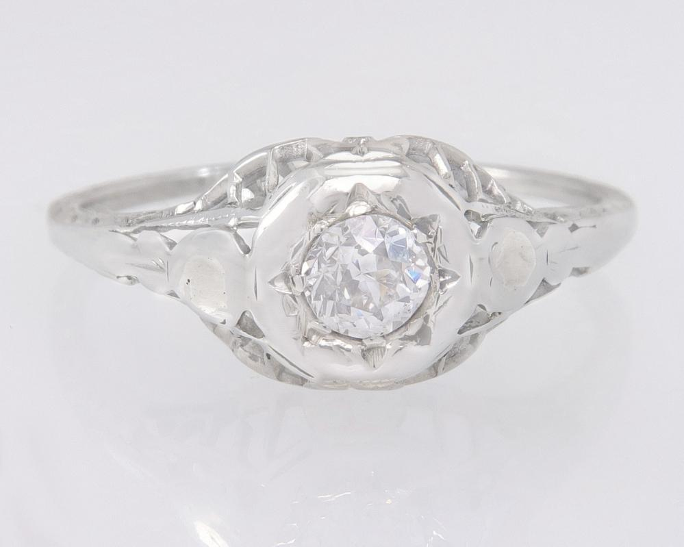 Antique .15ct Genuine Diamond 14K White Gold Flowers Art Deco Engagement Ring