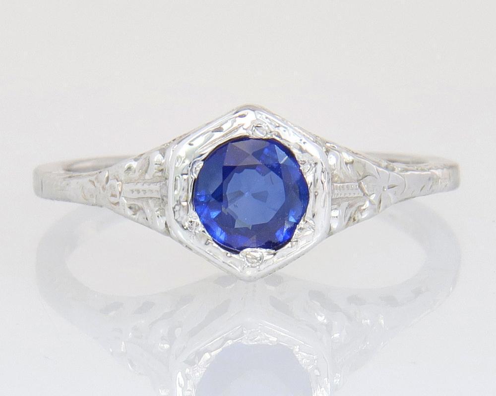 Antique .50ct Genuine Blue Sapphire 18K White Gold Art Deco Engagement Ring 2.1g
