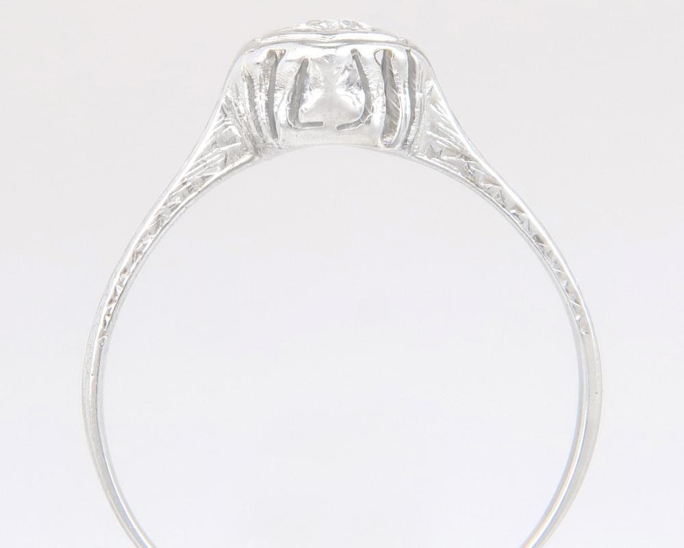 Antique .20ct Genuine Diamond 14K White Gold Art Deco Engagement Ring