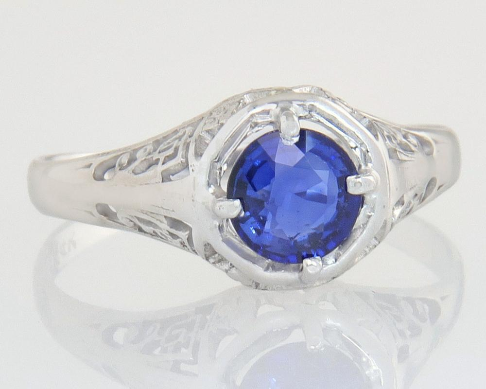 Antique .70ct Genuine Sapphire 14K White Gold Flowers Art Deco Engagement Ring