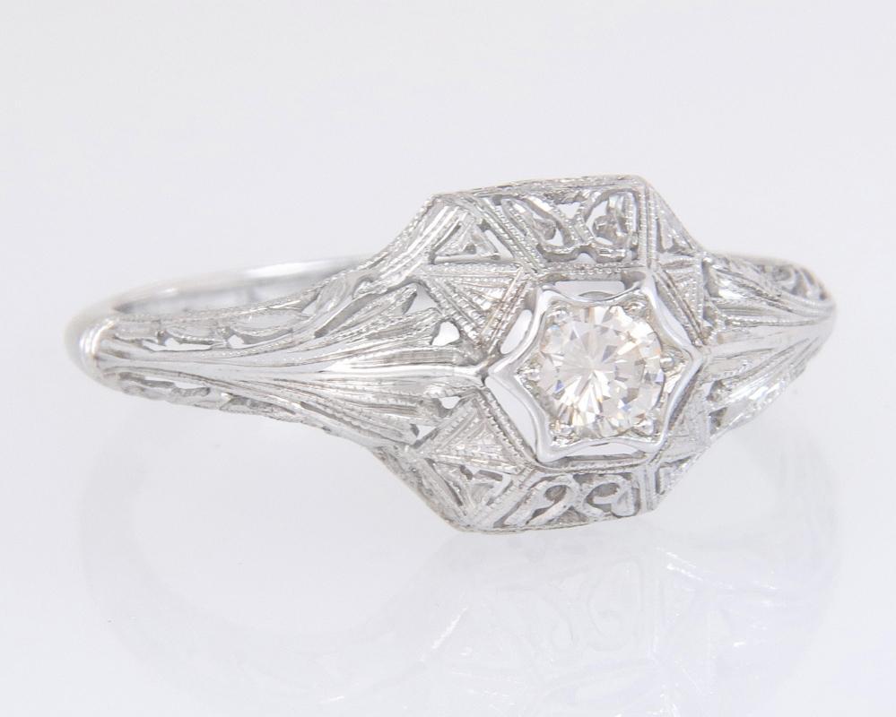 Antique Estate 14K White Gold .17ct Genuine Diamond Art Deco Engagement Ring