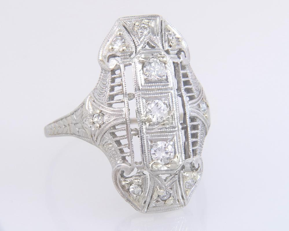 Antique Estate 18k White Gold Platinum .30ct Genuine Diamond Art Deco Ring