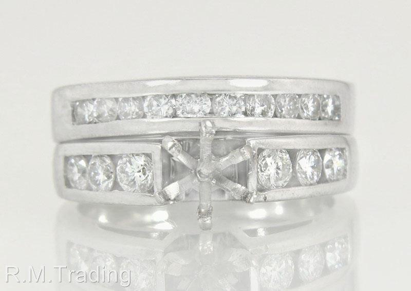 Estate 14k White Gold .80ct Genuine Diamond Semi Mount Wedding Ring Set 8.3g