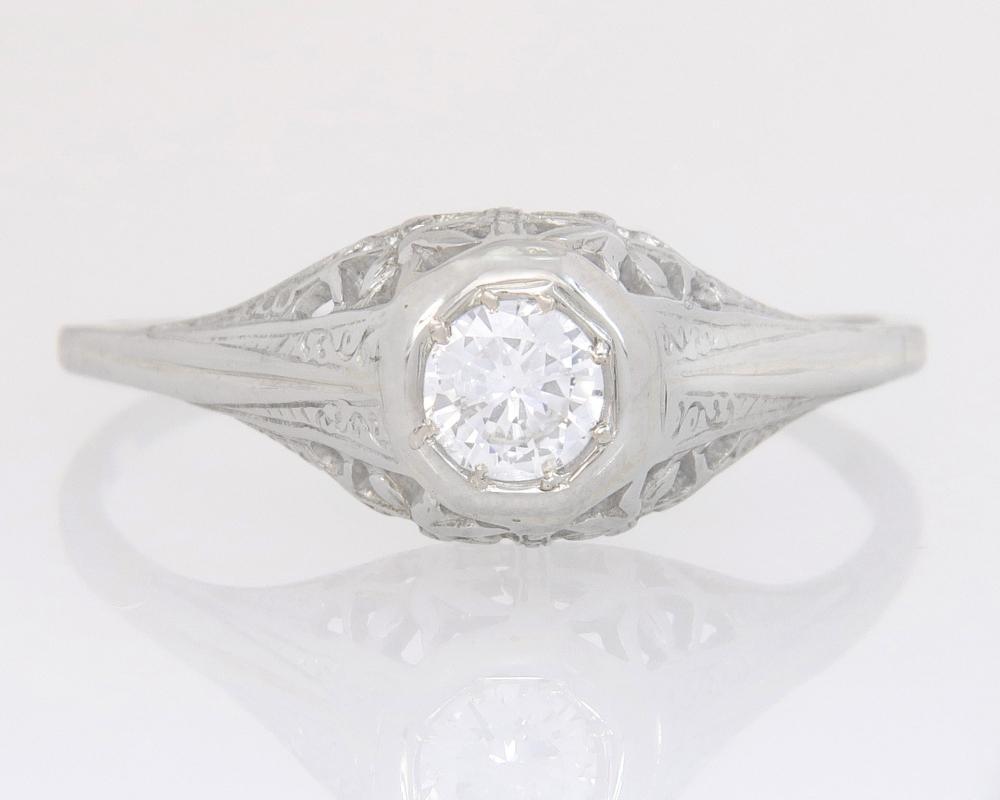 Antique Estate .19ct Genuine Diamond 18K White Gold Art Deco Engagement Ring