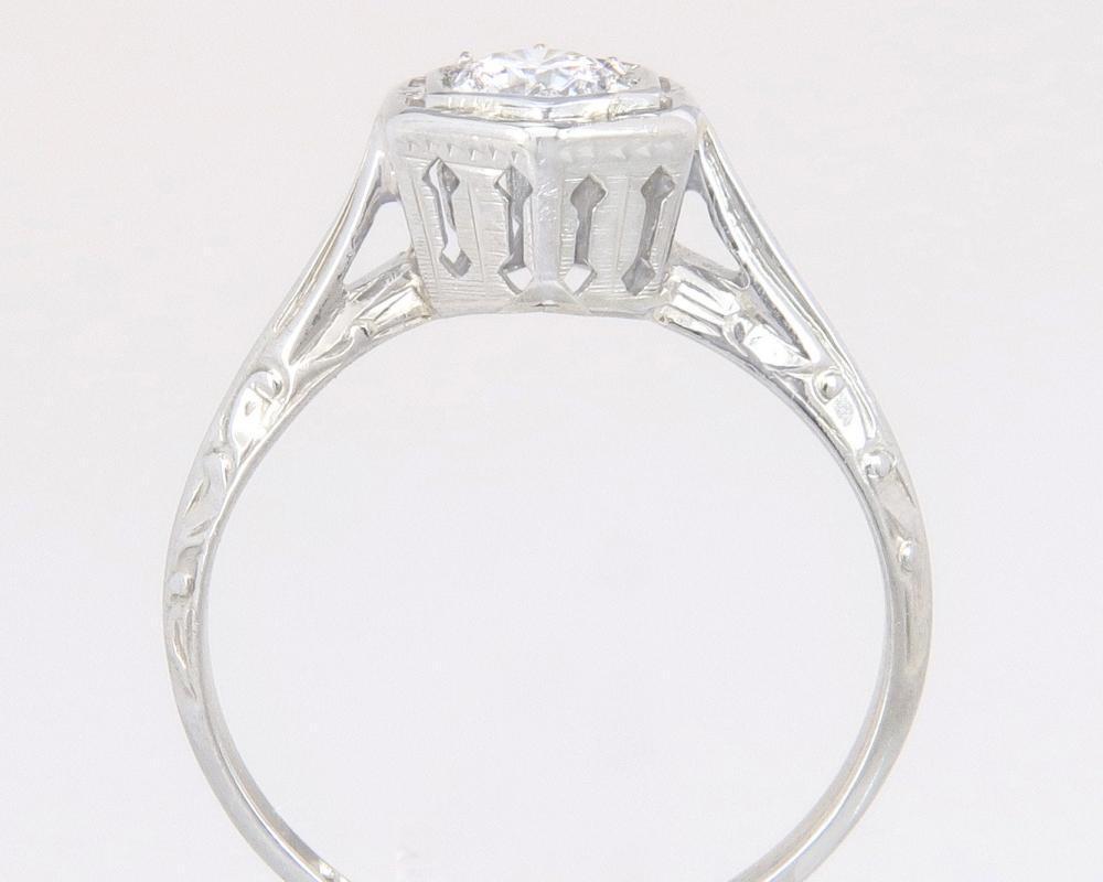Antique Estate Art Deco .22ct Genuine Diamond 14K White Gold Engagement Ring