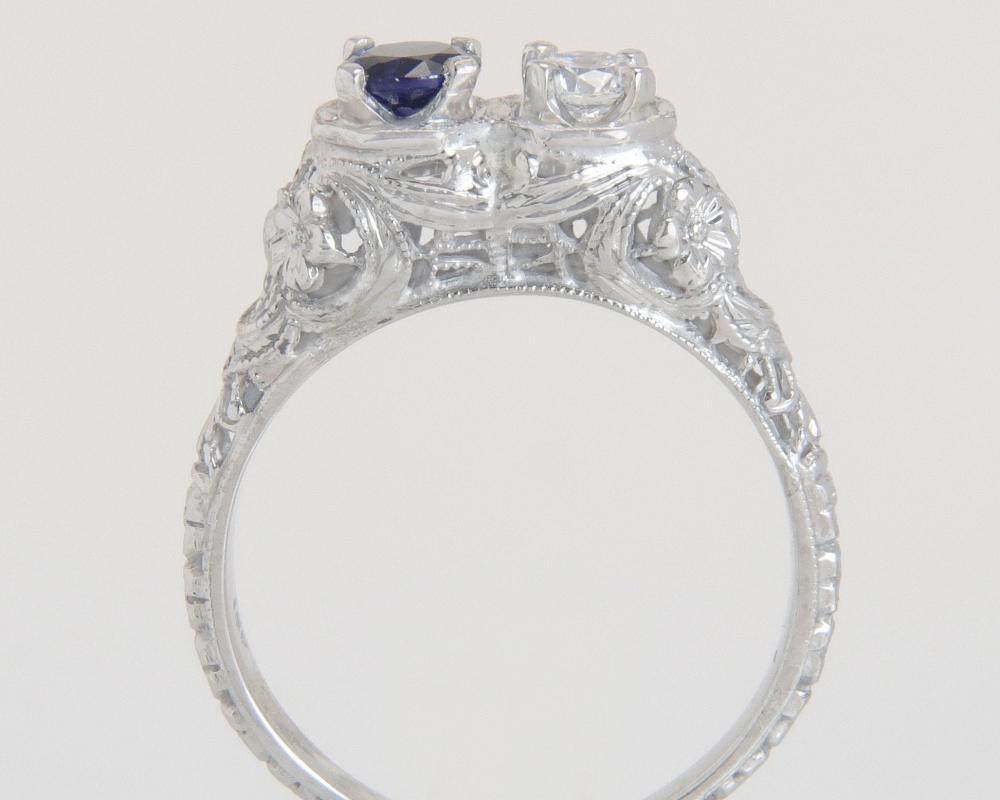 Antique 18K White Gold .45ct Genuine Diamond & Sapphire Flowers Art Deco Ring