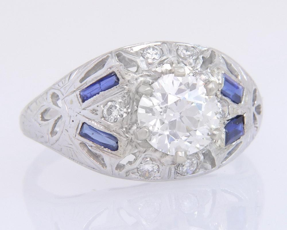 Antique GIA Certified 1.09ct K VS2 Diamond & Sapphire 18k Gold Engagement Ring