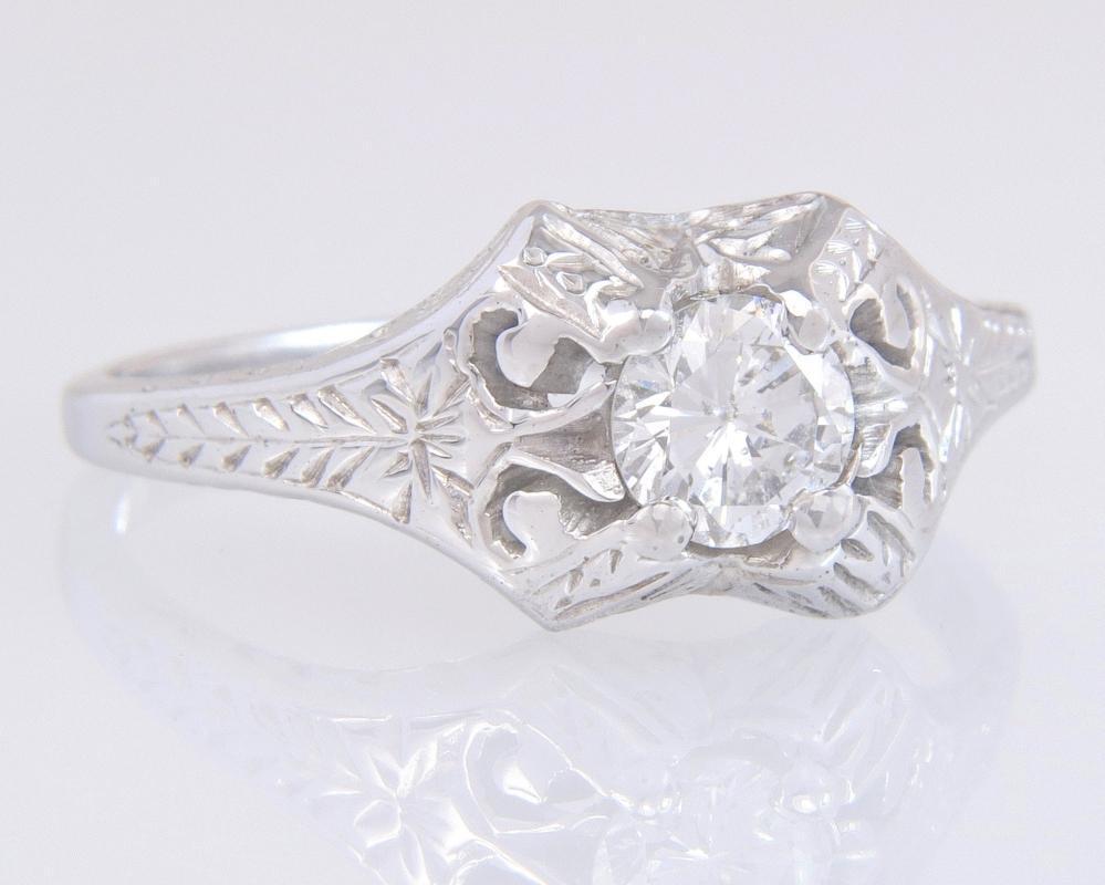 Antique Estate Belais .38ct Genuine Diamond 18K White Gold Engagement Ring