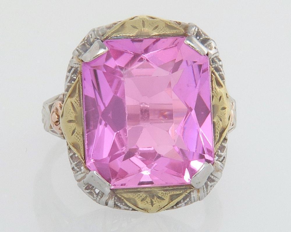 Estate Vintage Art Deco 14K White Yellow & Rose Gold 9.00ct Pink Spinel Filigree Ring
