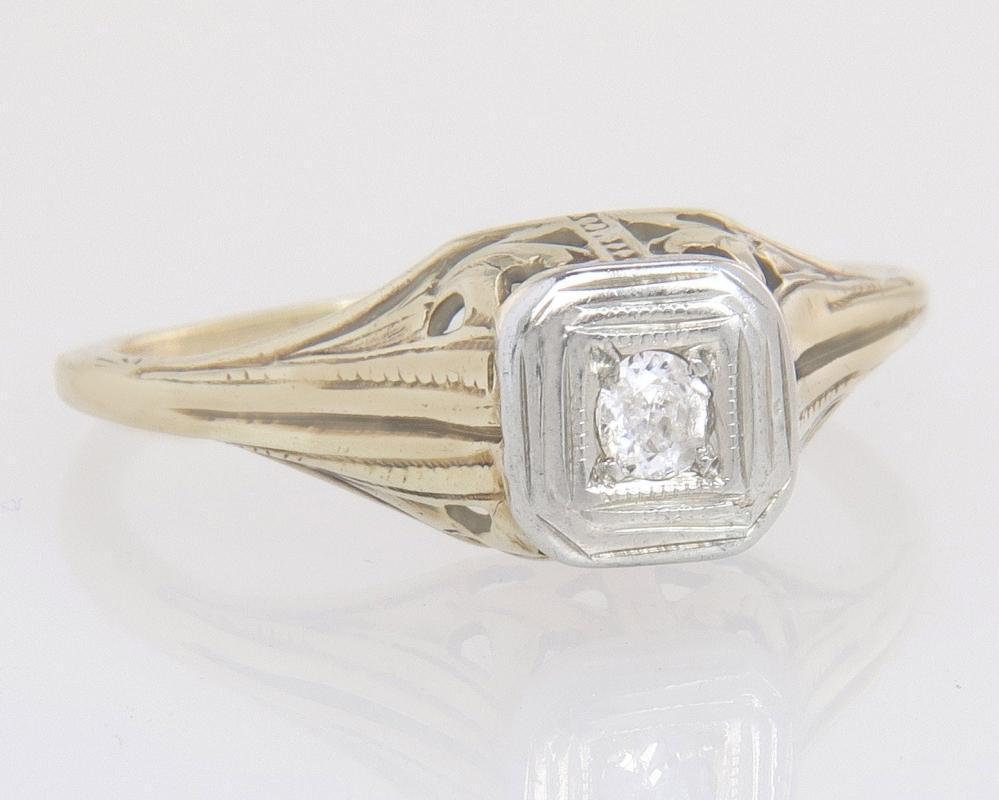 Antique Estate Art Deco .04ct Genuine Diamond 14K Yellow Gold Engagement Ring