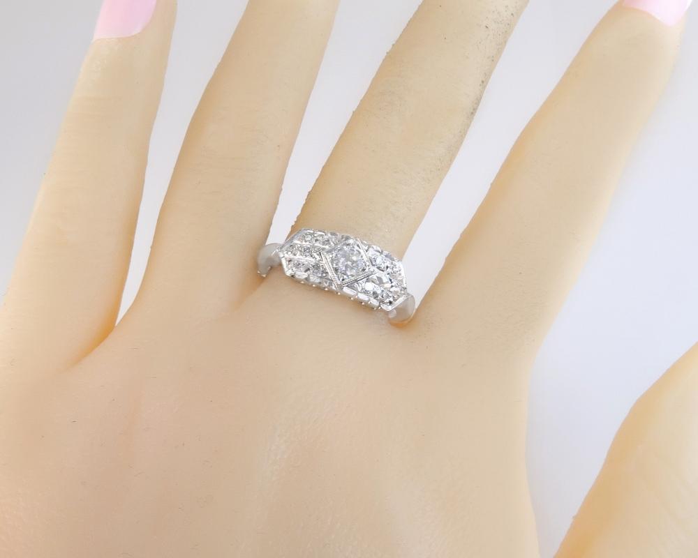 Antique Art Deco Ringcraft 14K White Gold .31ct Natural Diamond Engagement Ring 3.8g