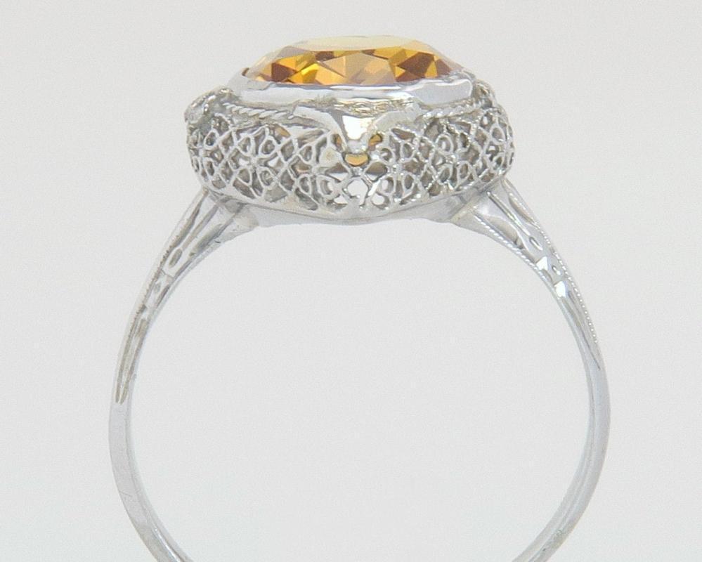 Antique Estate 14K White Gold 3.80ct Golden Topaz Art Deco Flower Ring 3.5g Size 9.25