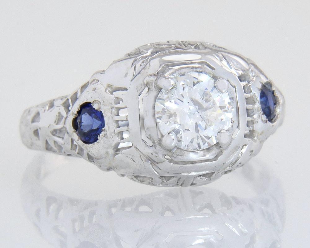 Antique 18k Gold .55ct Genuine Diamond & Sapphire Art Deco Engagement Ring 2.2g