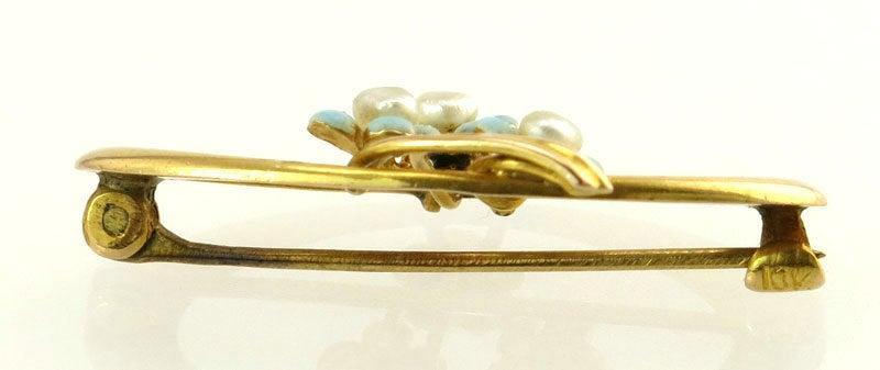 Antique Estate Vintage 10k Yellow Gold Turquoise & Freshwater Pearl Victorian Pin / Brooch 1.5g Circa 1890's