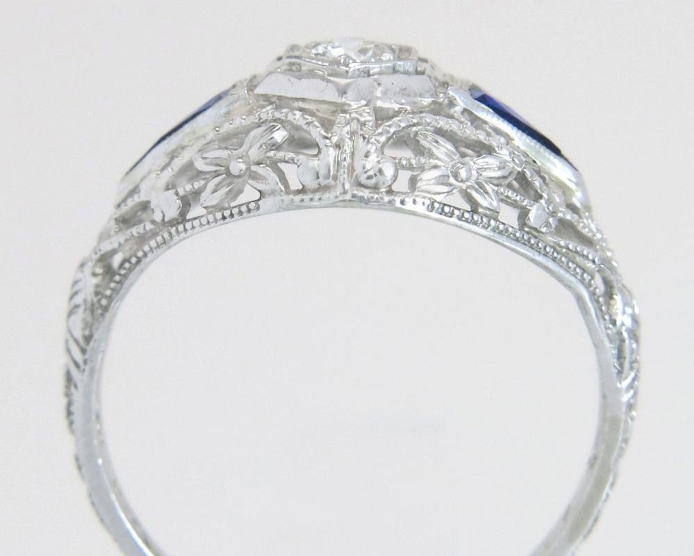 Antique .20ct Genuine Diamond & Blue Sapphire 18K White Gold Art Deco Engagement Ring