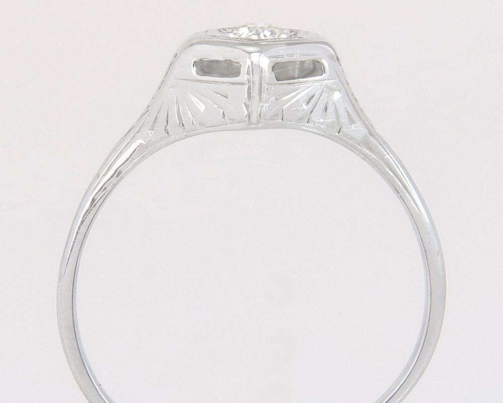 Antique Art Deco 20K White Gold .05ct Natural Diamond Engagement Ring