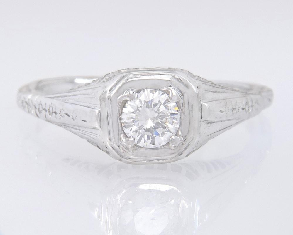 Antique Designer White Rose .21ct Genuine Diamond 18K Gold Art Deco Engagement Ring