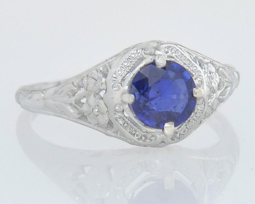 Antique .86ct Genuine Sapphire 18K White Gold Flowers Deco Engagement Ring