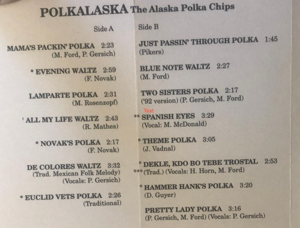 1992 POLKALASKA The Alaska Polka Chips Cassette. Comes with a CD Transfer. Marge Ford Patti Gersich Surreal Studios Anchorage