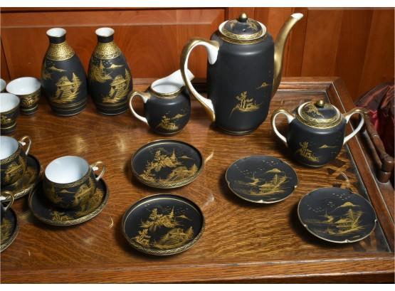 Antique Kutani of Japan Black Porcelain Tea Set