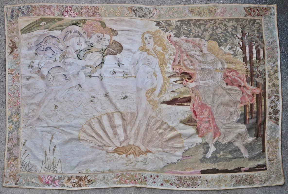 French silk embroidery Art Deco Sandro Botticelli