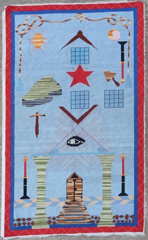 French needlepoint embroidery Freemason 1900