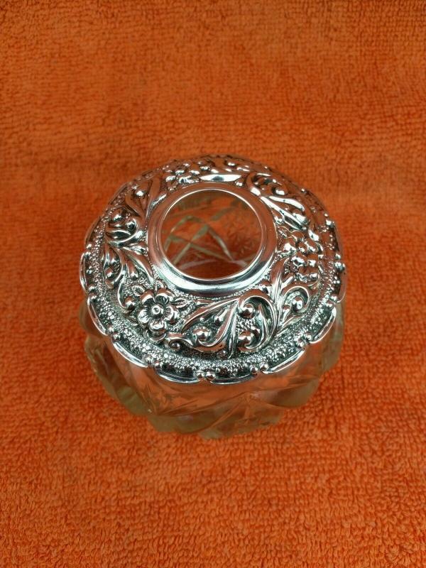 Antique Sterling Silver British Hallmarked Large Vanity Hair Bottle Jar 1907 Pennington